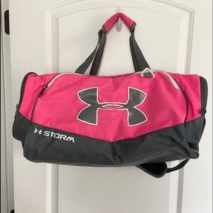 Pink and Gray Under Armour Sports Bag